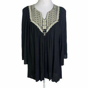 Alythea Embroidery Pleated Angel Sleeve Boho Tunic